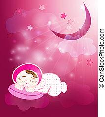 Little baby girl sleeps
