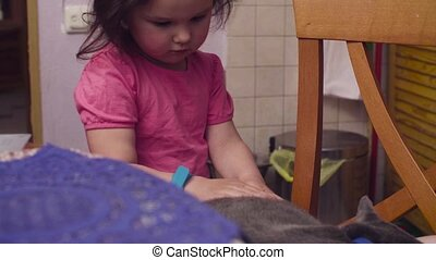 Little baby girl stroking a cat