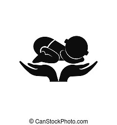 Little baby in mother hands icon