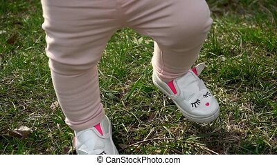 Little baby learns to walk. First Steps. Slow Motion 120 fps...