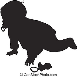 little baby silhouette - Vector little baby silhouette...