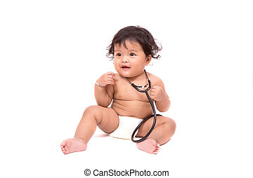 Little baby sitting on floor wearing and holding a stethoscope