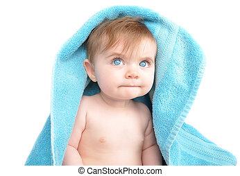 Little Baby Under Blue Towel