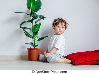 baby with green plant sitting on a floor near white wall