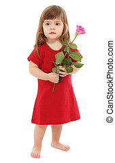 Little baby with pink rose, isolated on white