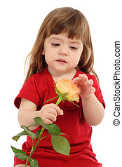 Little baby with yellow rose, isolated on white