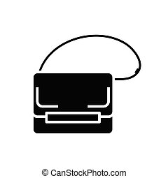 Little bag black icon, concept illustration, vector flat symbol, glyph sign.