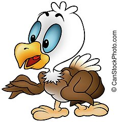 Little Bald Eagle - colored cartoon illustration