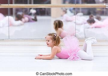 Little ballerina at ballet class - Little ballerina girl in...