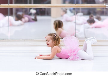 Little ballerina at ballet class - Little ballerina girl in...