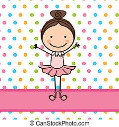 little ballerina over dotted background vector illustration