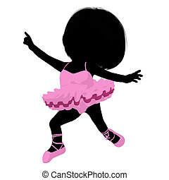 Little Ballerina Girl Illustration Silhouette - Little...