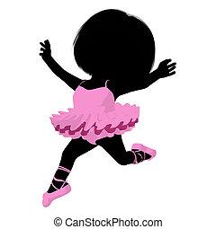 Little Ballerina Girl Illustration Silhouette