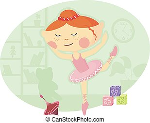 Little Ballerina in Pink Tutu Dress