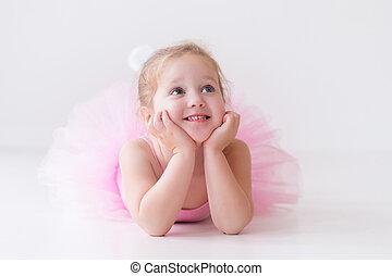 Little ballerina in pink tutu - Little ballerina girl in a...