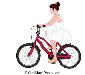 little ballerina on bicycle illustration