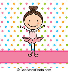 little ballerina over dotted background vector illustration