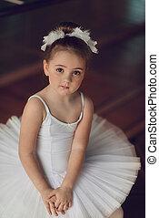 little Ballerina - Portrait of a cute little ballerina in a...