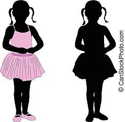 little ballerina posing silhouette