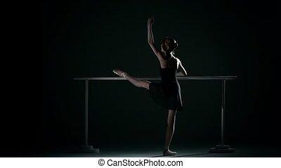 little ballet dancer wearing an apricot tutu. slow motion -...