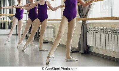 Little ballet-dancers are practising battement tendu during...