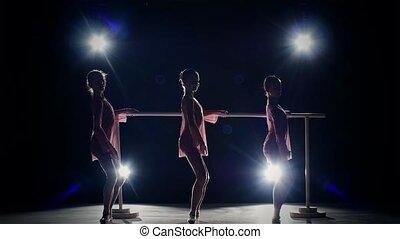 little ballet girls posing at ballet barre on black. slow motion