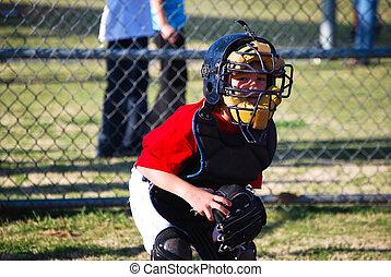 Little baseball catcher