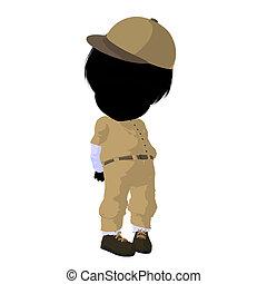 Little Baseball Girl Illustration Silhouette - Little...