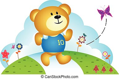 Little bear chasing butterfly - full colour