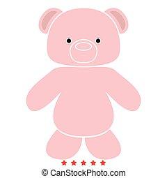 Little bear icon .  Flat style