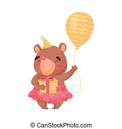 Little bear in a skirt holds a balloon and a gift. Vector illustration on white background.