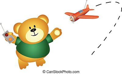 Little bear playing airplane