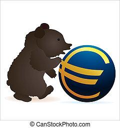 Little bear pushing Euro symbol