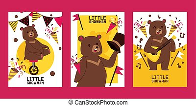 Little bear showman set of banners, posters vector illustration. Circus performance. Happy bear riding unicycle and playing balalaika invitation cards for party. Confetti, birthday flags.