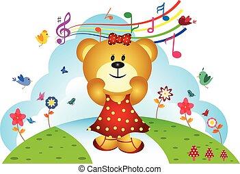 Little bear sing a song at the garden - full colour