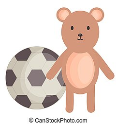 little bear teddy with balloon soccer square frame and birthday elements vector illustraitor
