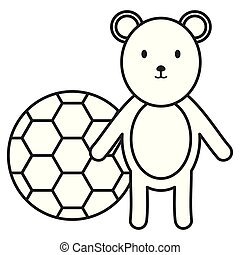 little bear teddy with balloon soccer