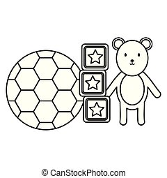 little bear teddy with soccer balloon and blocks toys