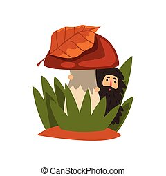 Little bearded man standing in the tall grass under the mushroom, fairy creature on beautiful natural landscape vector Illustration on a white background
