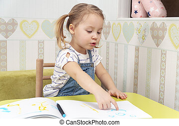 girl points to her drawing