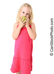 Little beautiful girl with green apple. Isolated on white background