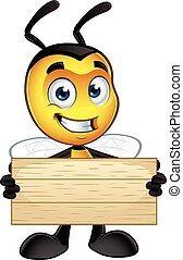 Little Bee Character - A cartoon illustration of an cute...