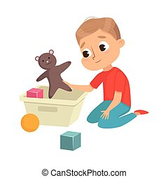 Little Big-eyed Boy Picking up Toys in Box Vector Illustration