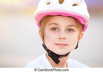 Little biker girl portrait