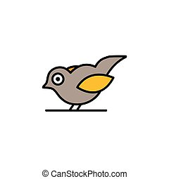 Little bird. Filled color icon. Animal vector illustration...