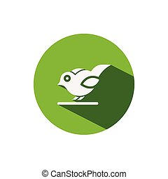 Little bird. Icon on a green circle. Animal vector illustration