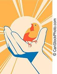 little bird in hand. vector flat illlustration