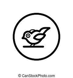 Little bird. Outline icon in a circle. Animal vector illustration