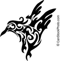 Little bird shaped as tribal tattoo