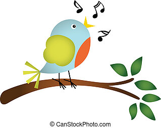 Scalable vectorial image representing a little bird singing on a tree branch, isolated on white.